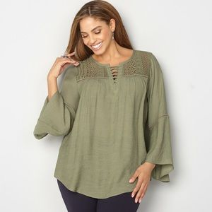 Bell Sleeve Lace Up Peasant Top
